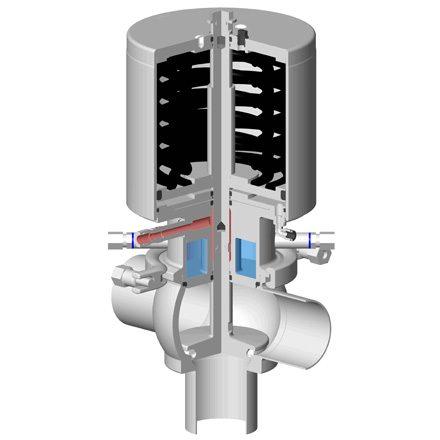 Détail vanne à clapet simple étanchéité aseptique DCX3 palier vapeur