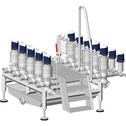 Manifold de soutirage (7222871) avec passerelle escalier et gate 2 rangées de vannes