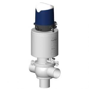 Vanne à clapet simple étanchéité aseptique DCX3 palier vapeur corps en T avec boîtier de contrôle Sorio