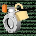 Vanne papillon manuelle DPX avec poignée support de détecteur cadenassable