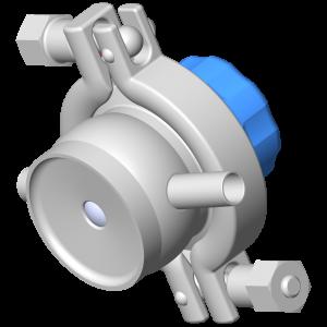 Manual sampling diaphragm valve DMX PE 2 outlets