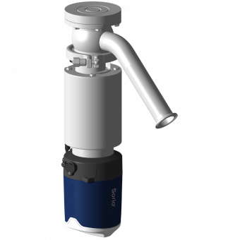 Tank bottom shut-off valve DCX3 FC for powder application with Sorio control top